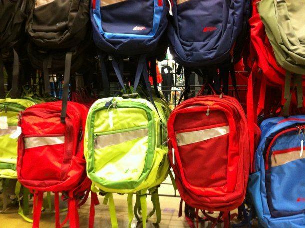 Wall of Backpacks at MEC