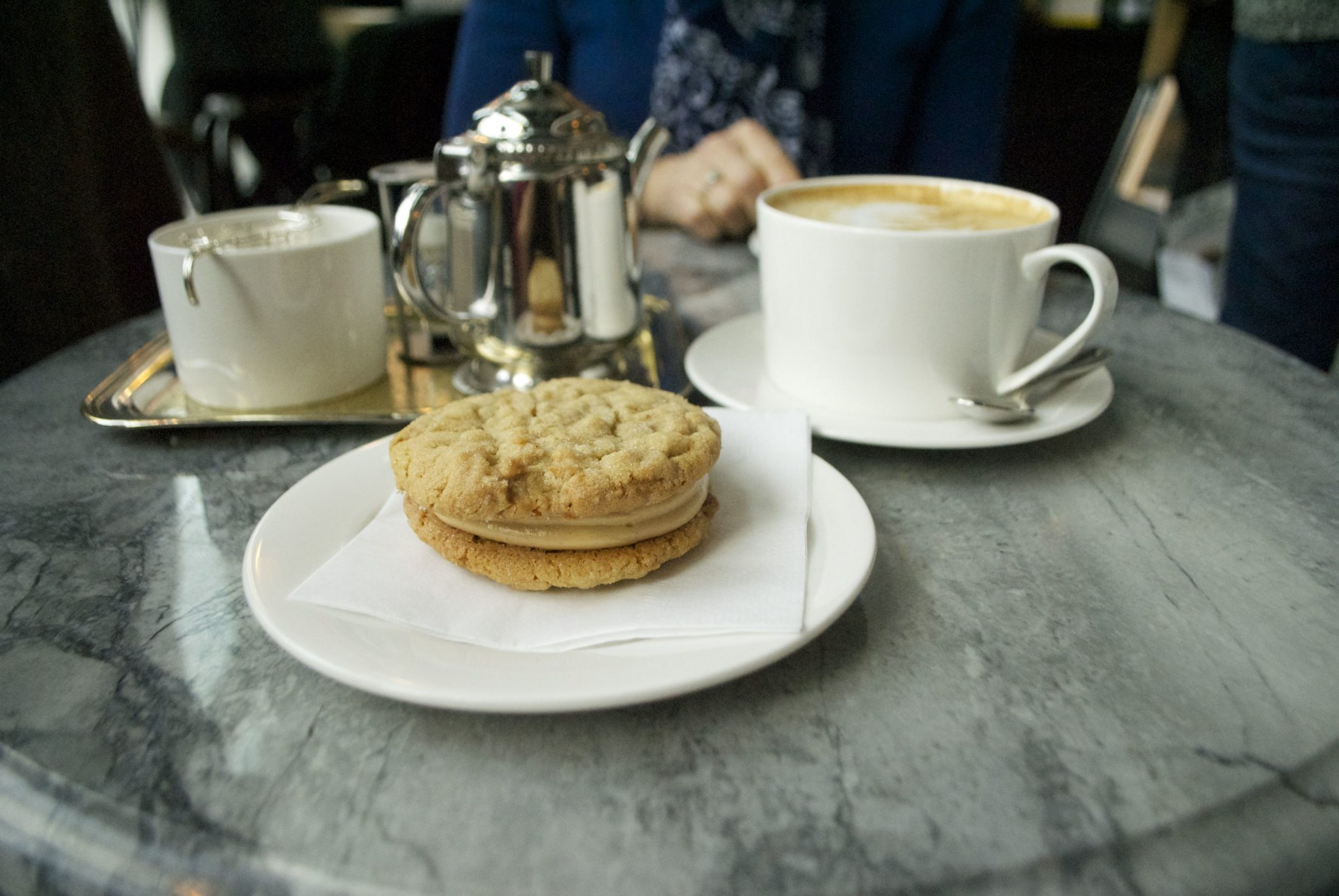 The wonderful peanut butter sandwich cookie at Beaucoup Bakery
