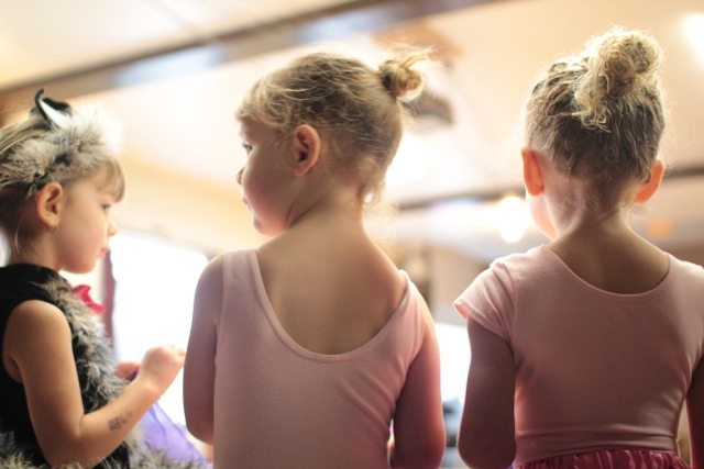 little girls in ballet class