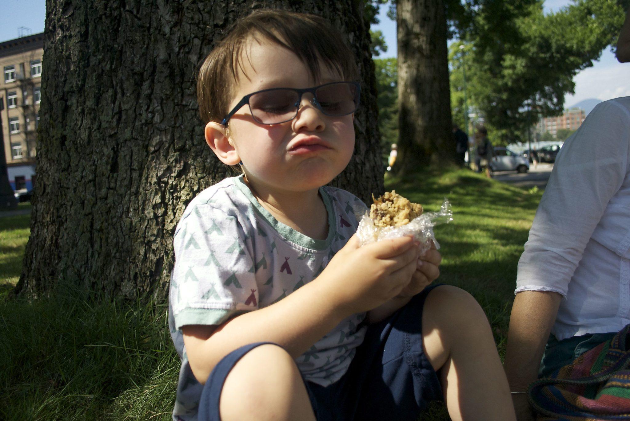Elliot enjoys a berry
