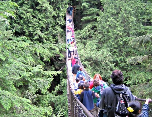Crossing the Lynn Canyon Suspension Bridge
