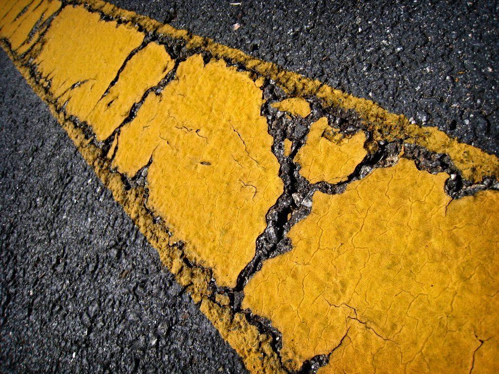 Cracked Yellow Line