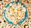 Selective focus on the pop corn in cup